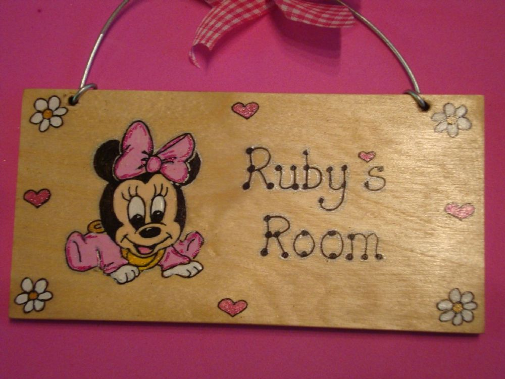 Minnie Mouse Personalised Unique Wooden Door or Wall Sign Nursery, Playroom or Wendy House Plaque Handcrafted